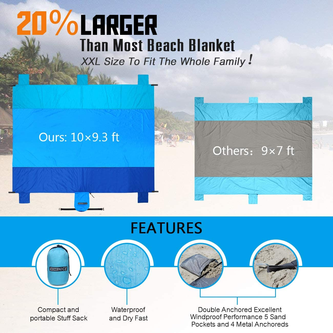 WoneNice Sand Proof Beach Blanket 10 x 9 Extra Large Sand Free Beach Blanket for 7 Adults Lightweight /& Waterproof and Quick-Dry with 6 Corner Pockets