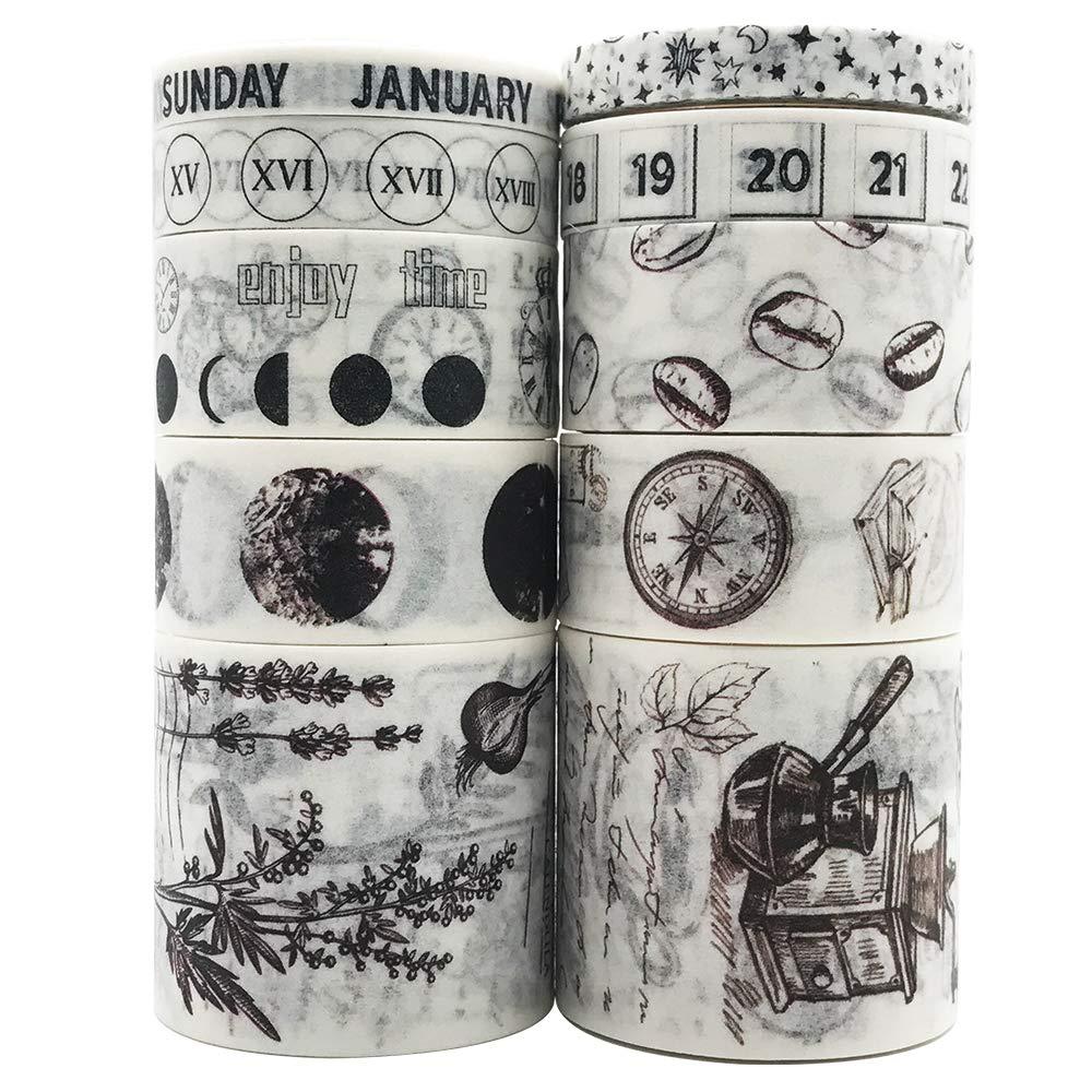 cintas washi vintage set decorativas blancas y negras