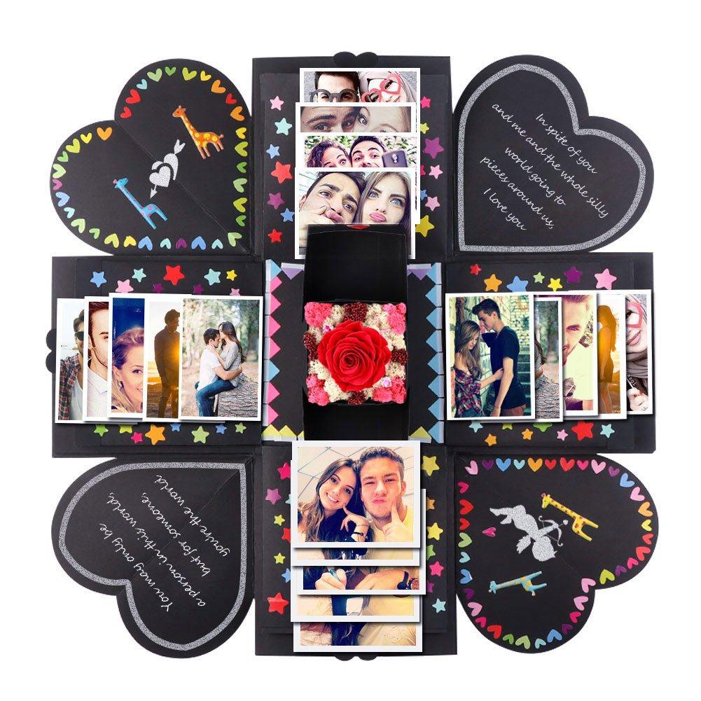 PartyTalk Creative Explosion Box Scrapbook DIY Photo Album Box Wedding Proposal Engagement Birthday Valentine's Day Anniversary Gifts, Black