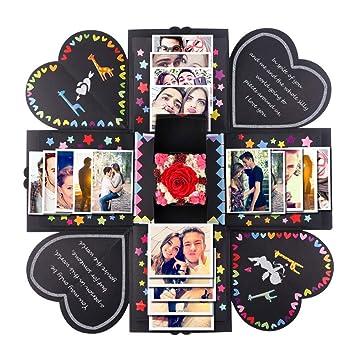 AerWo Explosion Box Scrapbook Creative DIY Photo Album con 11 piezas divertidas tarjetas y 17 tipos