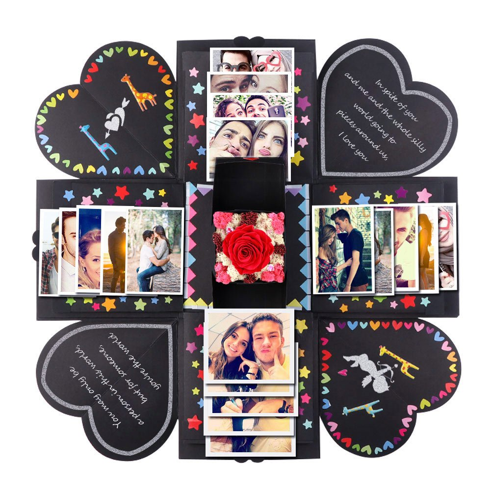 PartyTalk Creative Explosion Box Scrapbook DIY Photo Album Box Wedding Birthday Mother's Day Proposal Engagement Anniversary Gifts, Black