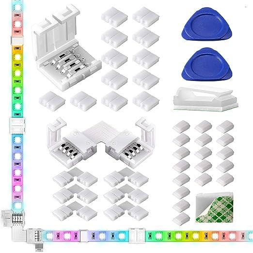 LED Strip Light Connectors 40Packs, 10mm Unwired 4 Pin 5050 RGB LED Light Strips Connectors kit,12 Gapless Connectors, 6 Corner Connectors for Multicolor LED Strip 5V 12V 24V 20Wire Clips 2 Open Tool