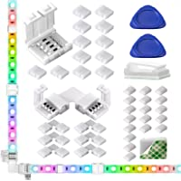 LED Light Strip Connectors, 10mm Unwired 4 Pin RGB LED Lights Connectors kit, 12 Gapless Connectors, 6 L Shape Connectors for SMD 5050 Multicolor LED Strip 12V-24V with 20 Wire Clips, Open Tool
