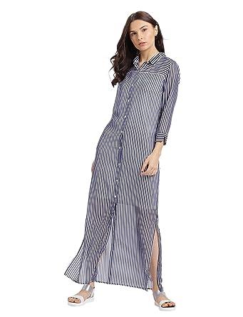 fc1a67418ca324 Leo Sansini Striped Maxi Dress with Shirt Collar  Amazon.in ...