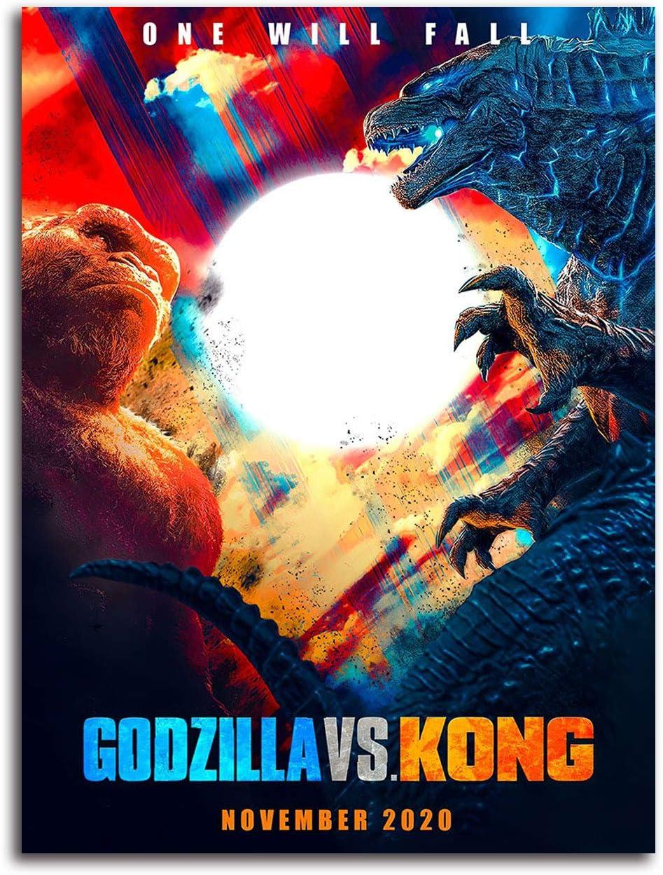 Amazon Com Aryago Godzilla Vs Kong Canvas Prints Wall Decor 24 X 36 Movie Poster King Of The Monsters Art Prints Home Decor Unframed Frameable Posters Prints