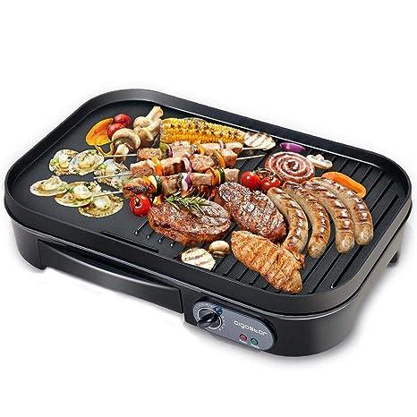 Aigostar Teplo 30CER - Plancha de asar y grill 2 en 1, antiadherente, 1800 watios, selector de temperatura, Fácil de desmontar, Fácil de limpiar. ...