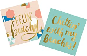 Beach Cocktail Napkins - for Tiki, Tropical and Hawaiian Themed Wedding, Birthday, Surf, Pool, Summer Theme Party | Paper Napkin Set for Beverage, Luncheon, Dessert, Appetizer | 2 Packs Of 20 Napkins