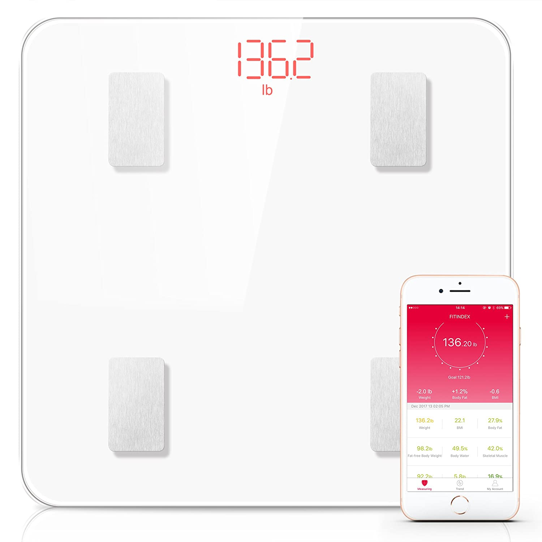 Bluetooth Body Fat Scale Fitindex Smart Wireless Digital Bathroom Weight Scale Body Compositionyzer Health