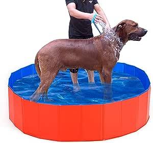 "Lumcrissy Foldable Portable Extra Large Dog Pet Bath Pool,Swimming Pool Bathing Tub 47inch.D x 12inch.H, Folding PVC Pool Bathtub Small Washer Kiddie Pools (Extra L(47""X12""))"
