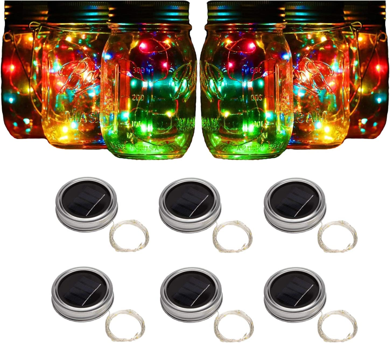 Forthcan 6 Pack Solar Mason Jar Lights, 10 Led String Fairy Firefly Lights Lids Insert for Regular Mouth Jars, Mason Jar,Patio,Lawn,Garden Decor (Mason Jar & Handle Not Included) (6, Colorful-Steady)