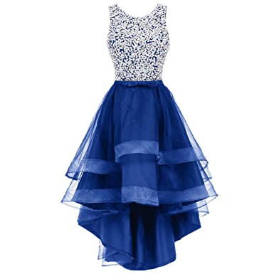Trendership Womens Scoop Neck Crystal Sequin Tulle Homecoming Dresses High-Low Gown Prom Dresses (