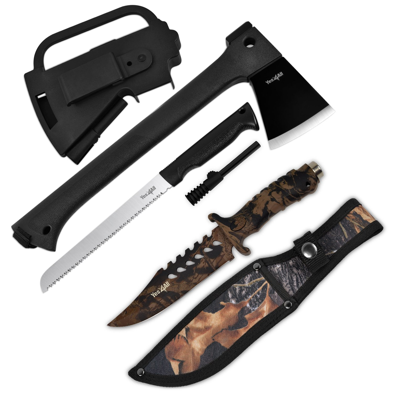 Yes4All Multi Functional Camping Axe H307 with Saw + Camo Knife