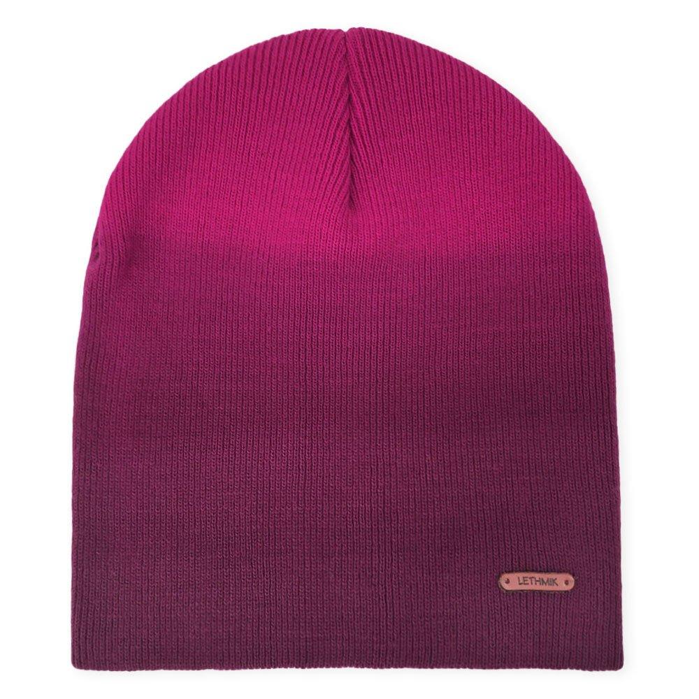 d3245204c43 LETHMIK Fleece Lined Beanie Hat Mens Winter Solid Color Warm Knit Ski Skull  Cap