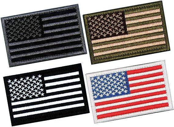 Parches tácticos de velcro de bandera estadounidense con diseño de calavera, con gancho y lazo para mochilas, gorros, chaquetas, pantalones, uniforme militar, tamaño 7,62 x 5,08 cm, paquete de 10: Amazon.es: Juguetes
