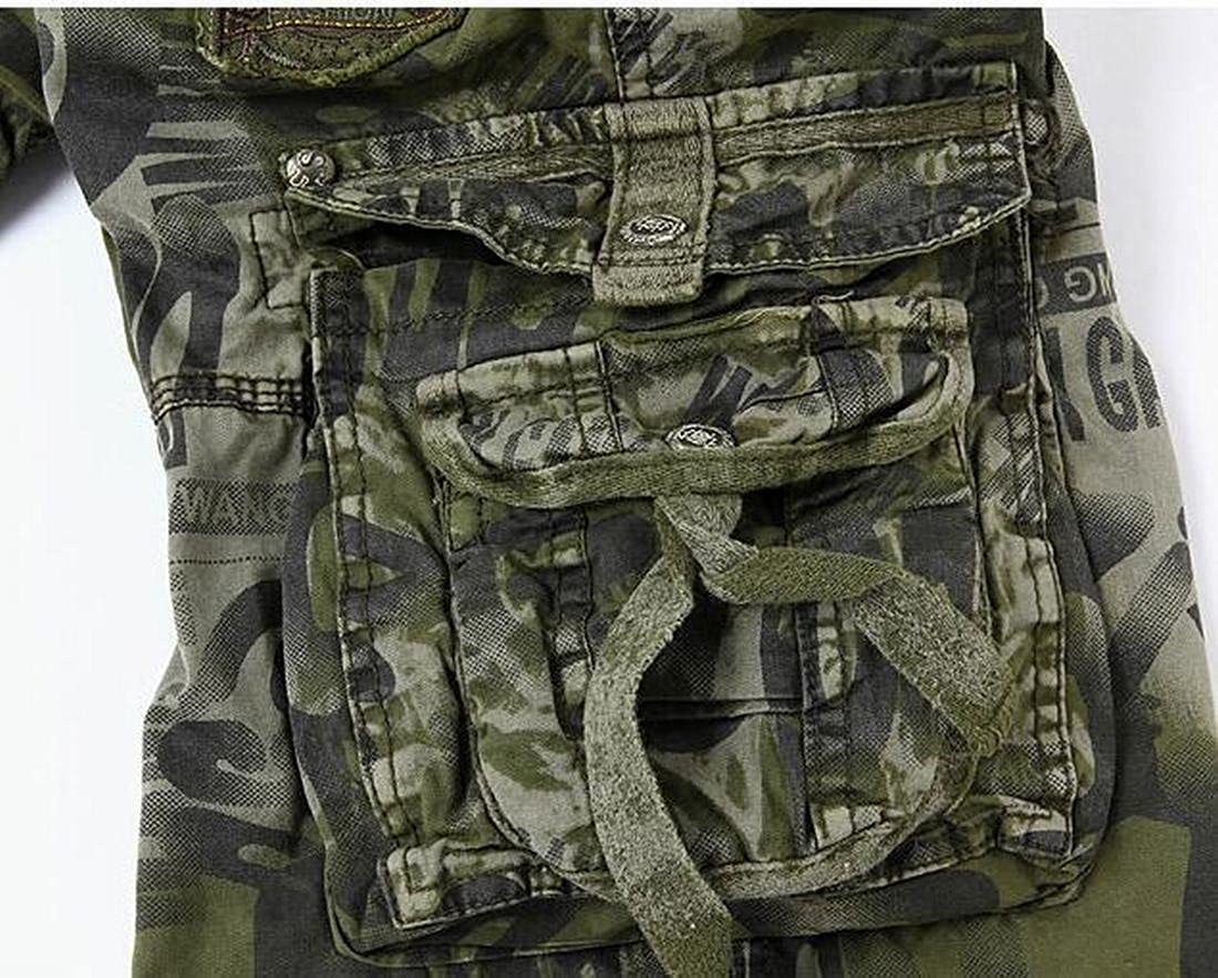 BOBOYU-Men Cotton Multi Pockets Military Camo Rugged Cargo Shorts Beach Swim Trunk