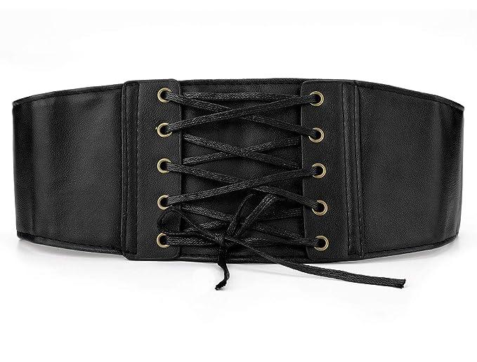 bab705e67 Allegra K Lady Press Button Closure Stretch Corset Waist Laceup Cinch Belt  Black