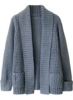 0b40e00d7c Doballa Women s Solid Long Sleeve Open Front Draped Chunky Knit Cardigan  Sweater with Pockets