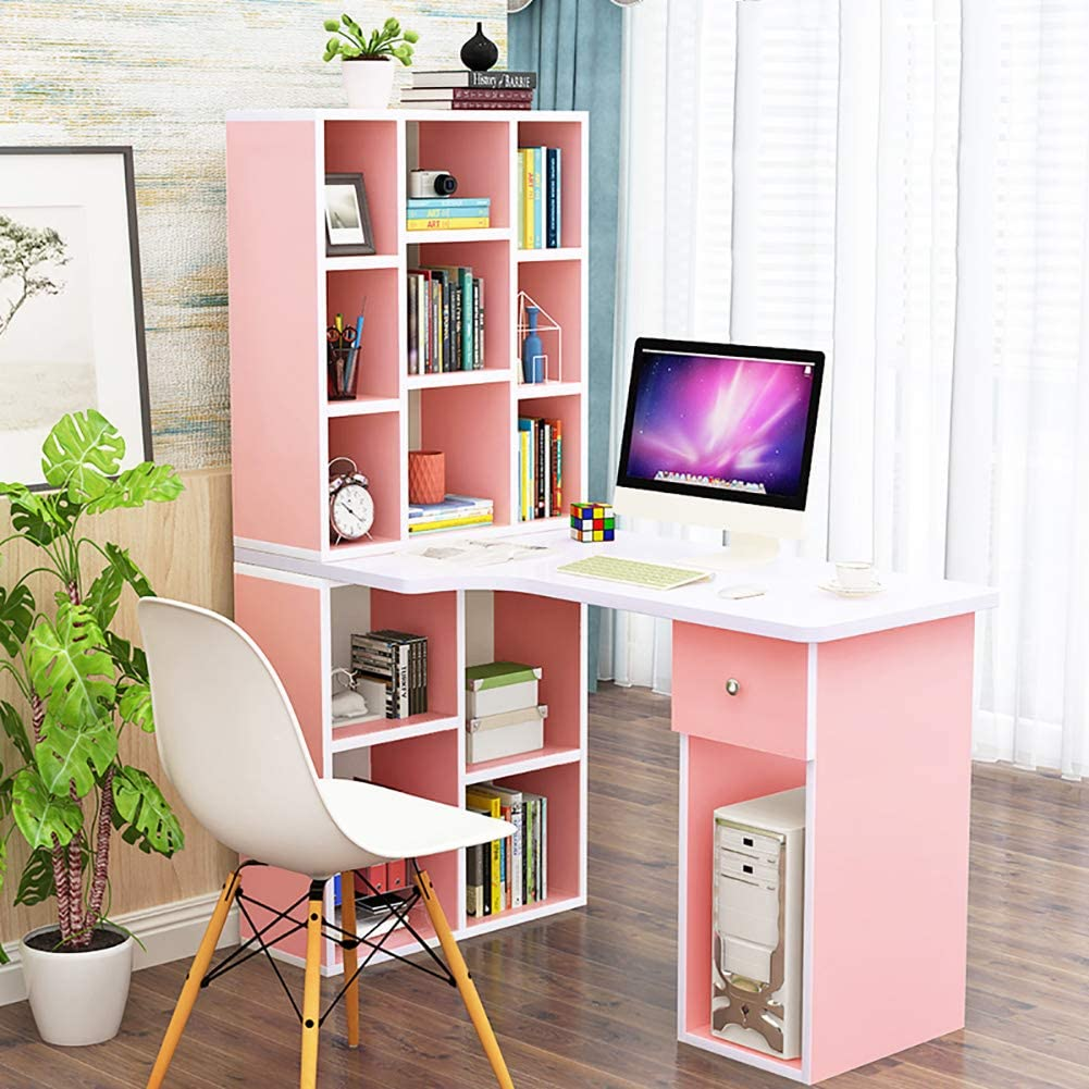 TSSCY Desk Large Study Computer Desk Bookshelf, Workstation Huge Capacity Writing Gaming Desk for Pc Laptop-Pink