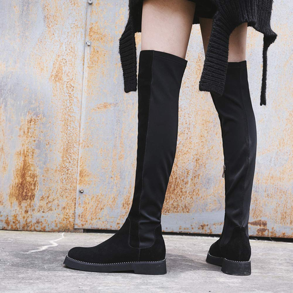 QINGMM Leather Womens Shoes in The Winter of 2018 with Low-Heeled Students Wild Knee Boots