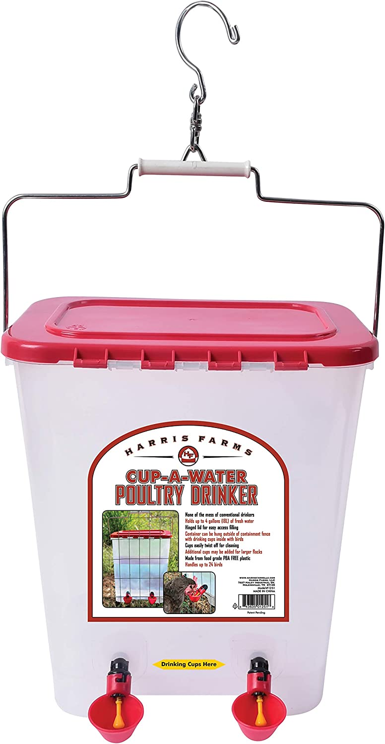 Harris Farms 1000310 Poultry Drinker, Cup-A-Water, 4 Gallon