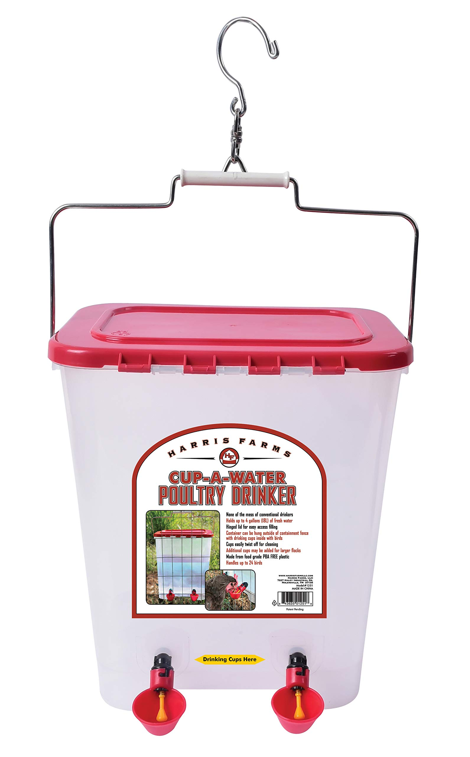 Harris Farms Cup-A-Water Poultry Drinker, 4 gallon