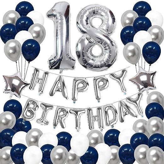 Decoraciones de 18 Cumpleaños, Feliz Cumpleaños Banner Kit Número 18 Set de Decoraciones de Fiesta Con Globos de Ppapel de Aluminio Azul y Astilla ...