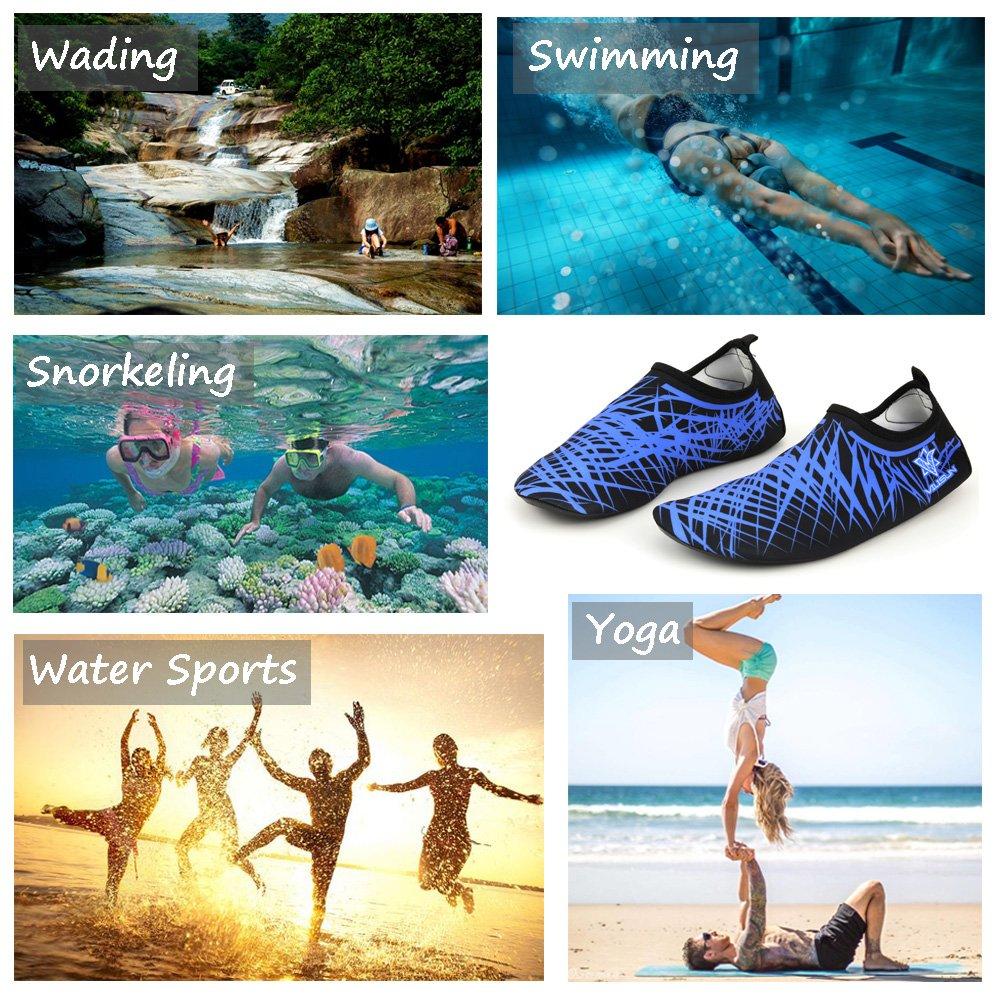 Escarpines para nadar, hacer yoga, correr, hacer snorkel y bucear, hechos de neopreno con suela de goma, ideales para adultos, V-Blue: Amazon.es: Deportes y ...