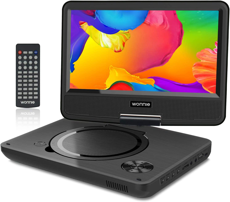 """WONNIE 11"""" Reproductor de DVD Portátil para Niños en Viaje con 4 Horas Batería Recargable Compatible con Tarjeta SD y USB, Reproducción Directa de RMVB/AVI / MP3 / JPEG"""