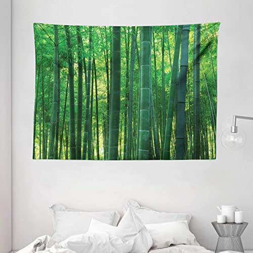 Ambesonne Bamboo House Decor Tapestry, Asian Oriental Exotic Bamboo Trees in The Rainforest Horizontal Jungle Stalk Nature View, Wall Hanging for Bedroom Living Room Dorm, 80 W X 60 L Inches, Green