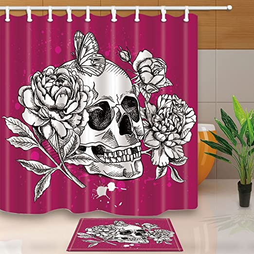 Amazing Sugar Skull Decor Bathroom ShowerCurtainSet Fabric/&12Hook71 Inch