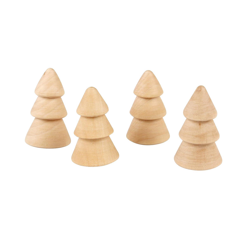 4 mini abete in legno da decorare –  4 x 2, 5 cm 5cm MegaCrea DIY