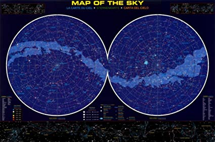 Amazon.com: Map of the Sky Poster 36 x 24in: Star Chart Poster