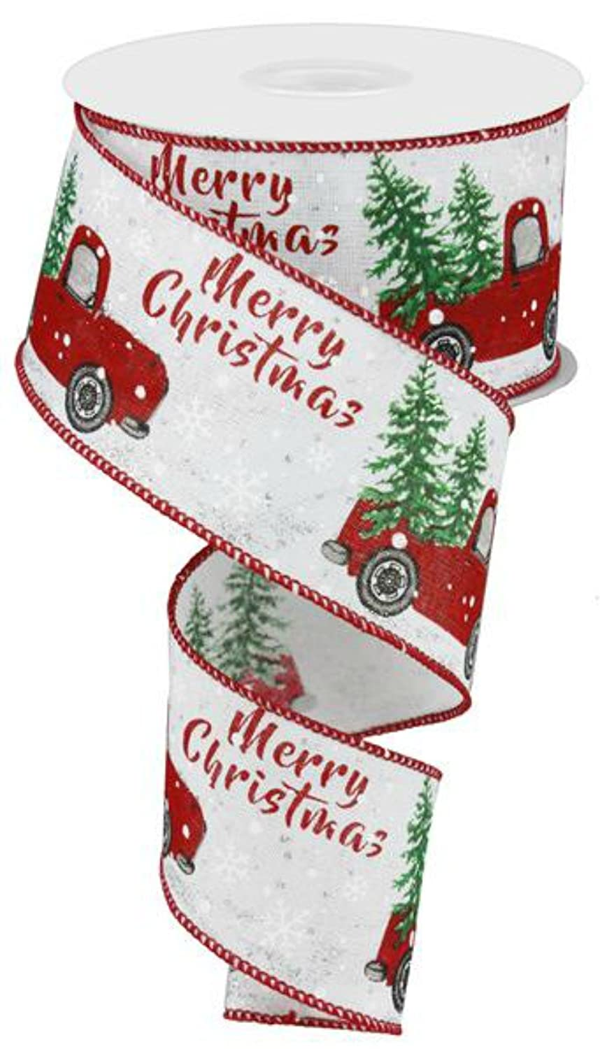 Christmas Expressions.2 5 Vintage Truck With Tree Merry Christmas Expressions Brand Wired Merry Christmas Red Truck Ribbon Rx419027