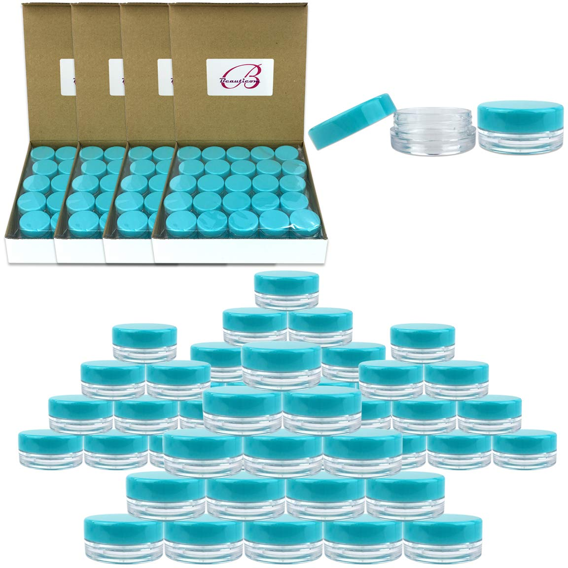 (Quantity: 500 Pieces) Beauticom 3G/3ML Round Clear Jars with TEAL Sky Blue Lids for Scrubs, Oils, Toner, Salves, Creams, Lotions, Makeup Samples, Lip Balms - BPA Free by Beauticom