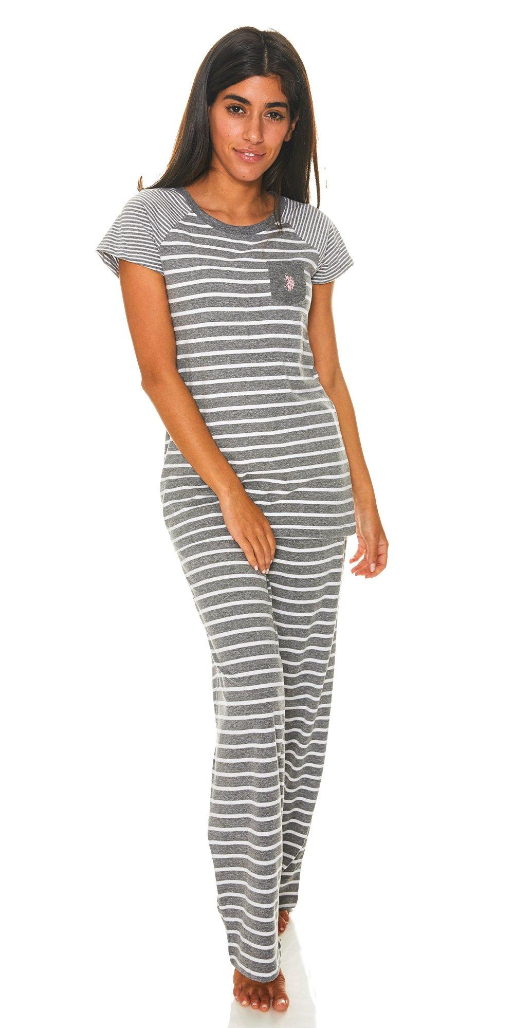 U.S. Polo Assn.. Womens 2 Piece T-Shirt Lounge Pants Pajama Sleepwear Set Charcoal Heather Large