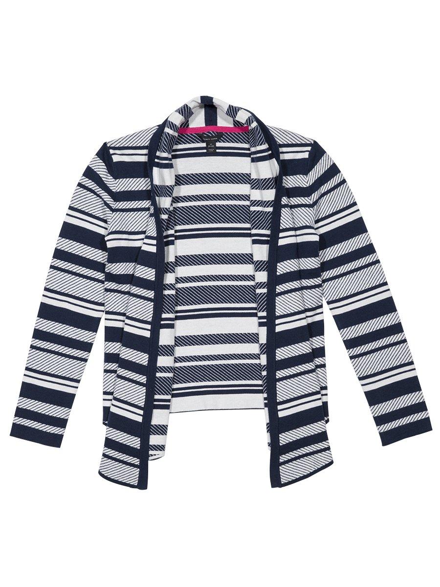 Tommy Hilfiger Girls' Big Jacquard Stripe Sweater, Medium Navy, by Tommy Hilfiger (Image #1)