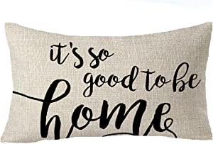 """FELENIW Best Blessing To Family It's So Good To Be Home Throw Pillow Cover Cushion Case Cotton Linen Material Decorative Lumbar 12"""" x 20'' inches"""