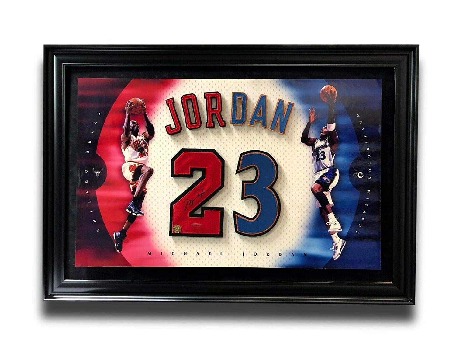 100% authentic 743b3 14f4b MICHAEL JORDAN SIGNED JERSEY NUMBERS FRAMED PHOTO COLLAGE ...