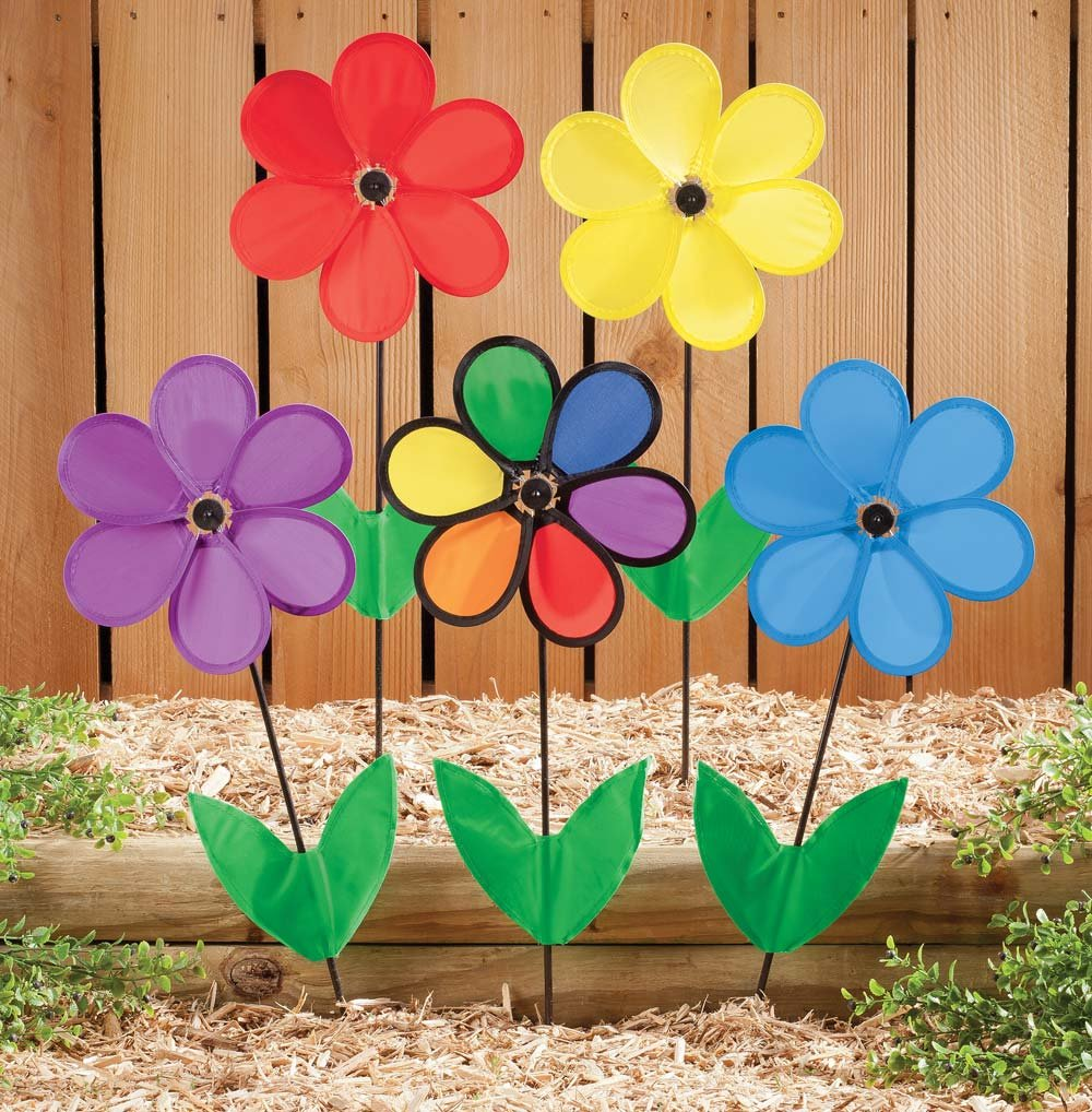 Amazoncom Miles Kimball Colorful Flower Wind Spinners Garden