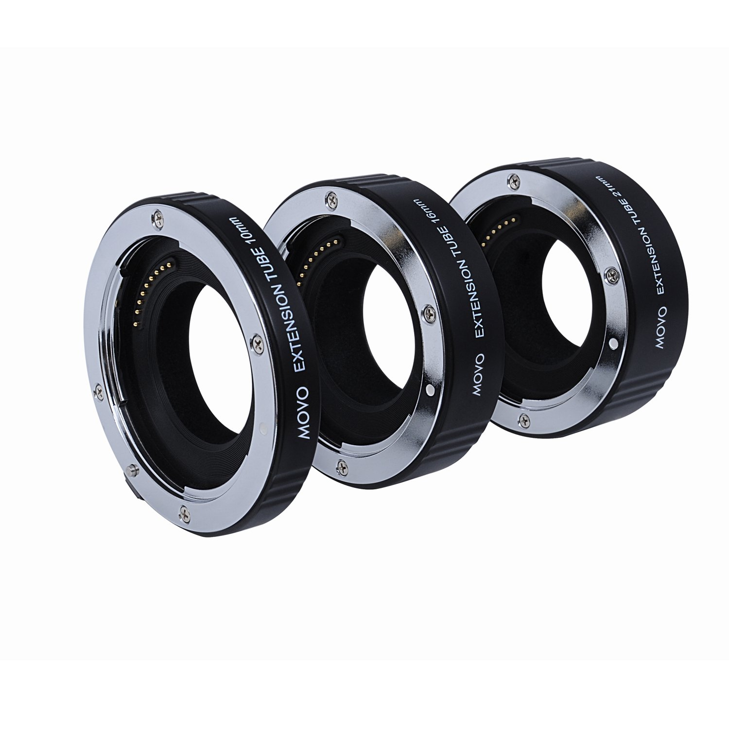 Movo Photo AF Macro Extension Tube Set for Canon EOS-M, M2, M3, M10 Mirrorless Camera System with 10mm, 16mm & 21mm Tubes (Metal Mount) by Movo