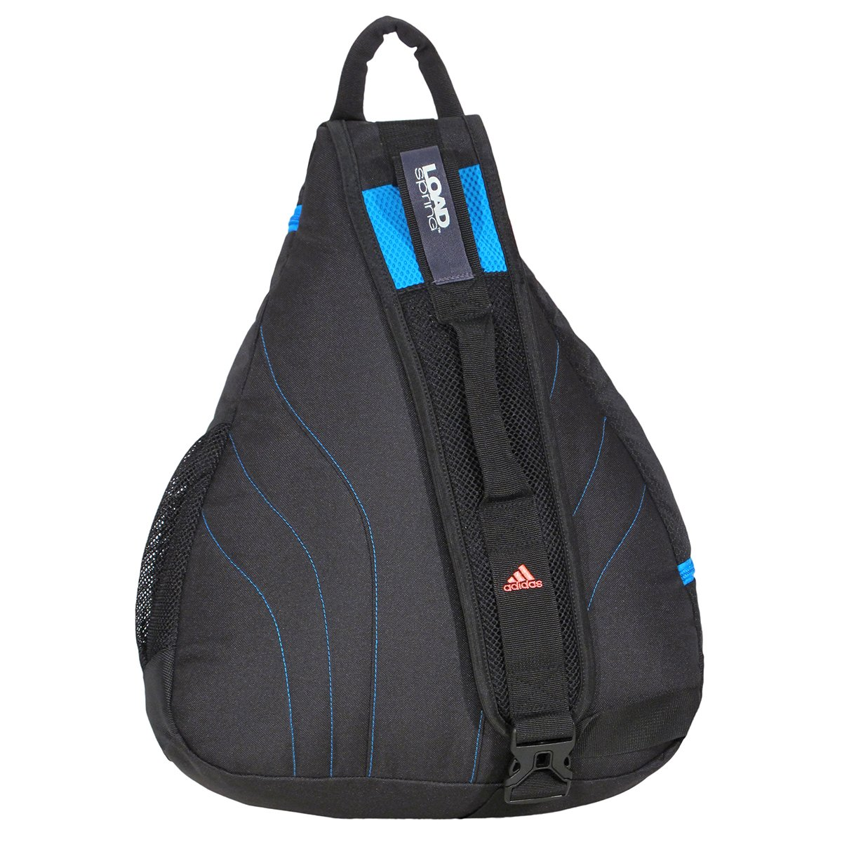 04dc5bc9e75 Amazon.com: adidas Shermer Sling Backpack, Black/Solar Blue/Red Zest, 19 1/4  x 14 x 7-Inch: Clothing