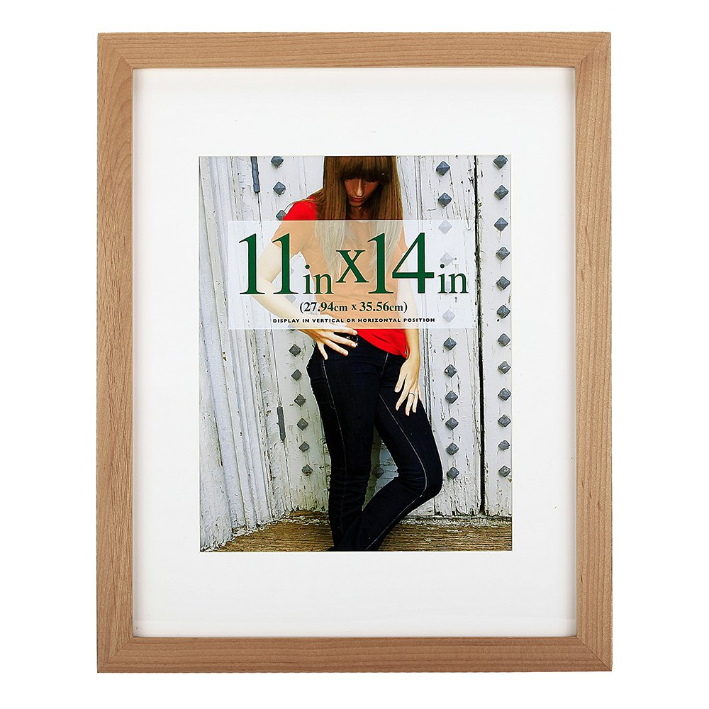 11x14 inch Picture Frame Made of Solid Wood and High Definition Glass Display Pictures 8x10 with Mat or 11x14 Without Mat for Wall Mounting Photo Frame Natural