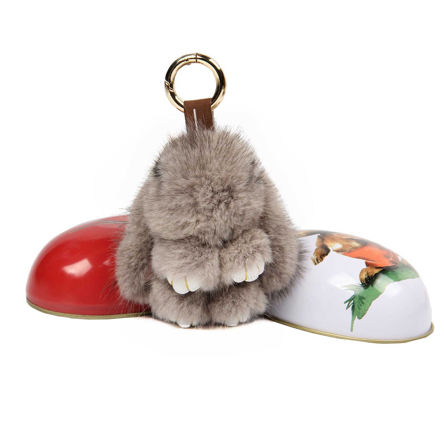 YISEVEN Easter Eggs Stuffed Rabbit Keychain Toy- Soft and Fuzzy Mini Plush Bunny Key Chain-Cute Fluffy Bunnies Floppy Furry Animal Doll Gift for Girl Women Purse Bag Car Charm (3.5-Inch) Gray by YISEVEN