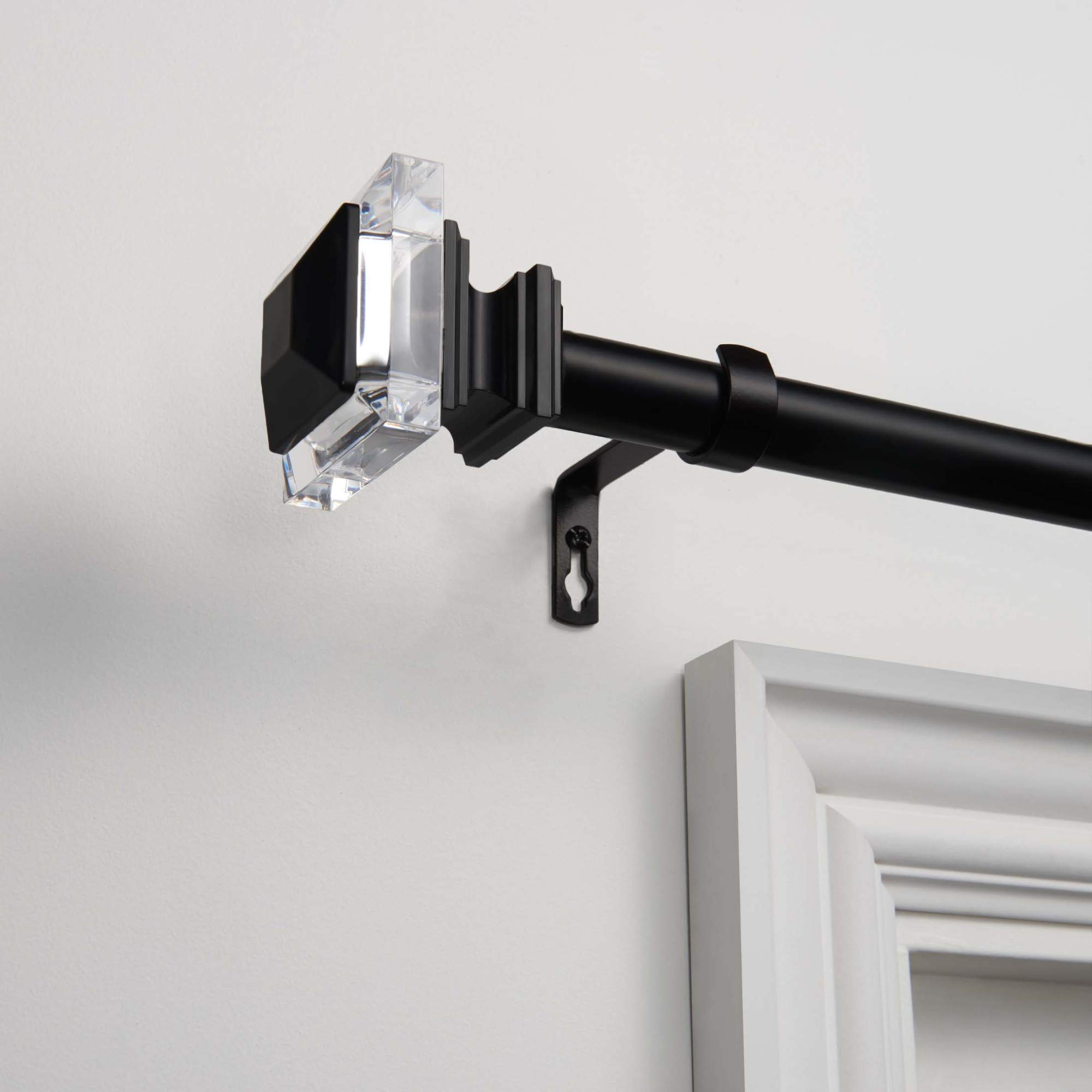 Exclusive Home Curtains Prism Curtain Rod and Finial Set, 36'' to 72'', Matte Black by Exclusive Home Curtains