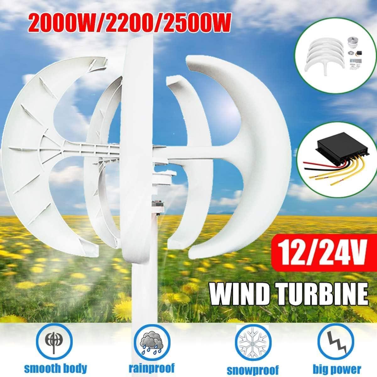 YUYUKUAILAI 2000/23000 W 12/24 V luz de señal de turbina eólica, 5-Blade Kit Motor, Eje Vertical con el Control para el alumbrado público casa, 12V, 2000W,24v,2500W