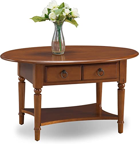 Leick Coastal Oval Coffee Table with Shelf, Pecan