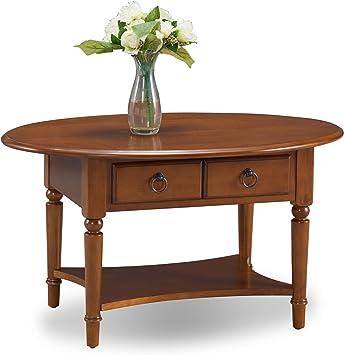 Leick Coastal Oval Coffee Table With Shelf Pecan