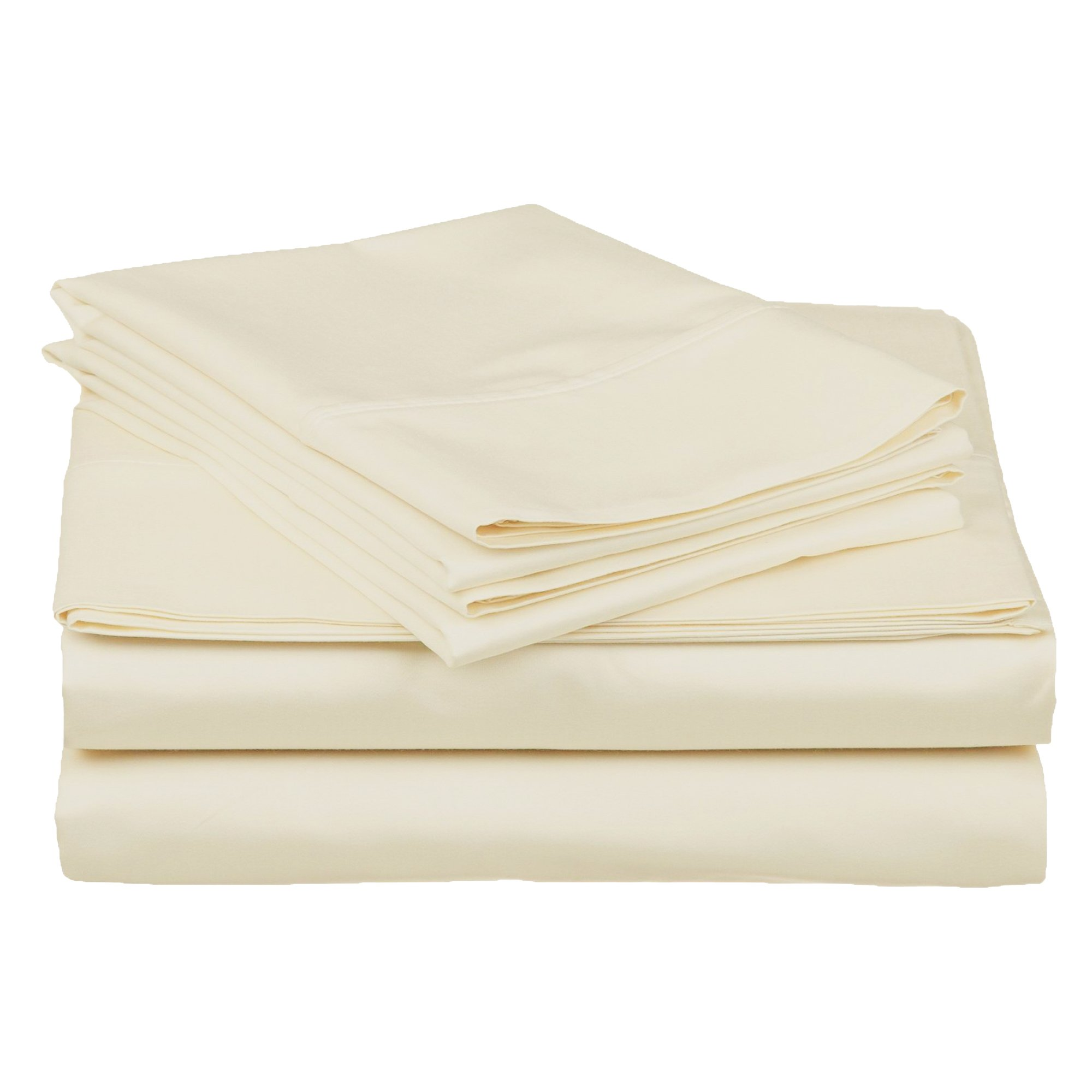 Superior 100% Premium Combed Cotton, Deep-Fitting Pocket Soft and Smooth 4 Piece Sheet and Pillowcase Cover Set, California King - Ivory