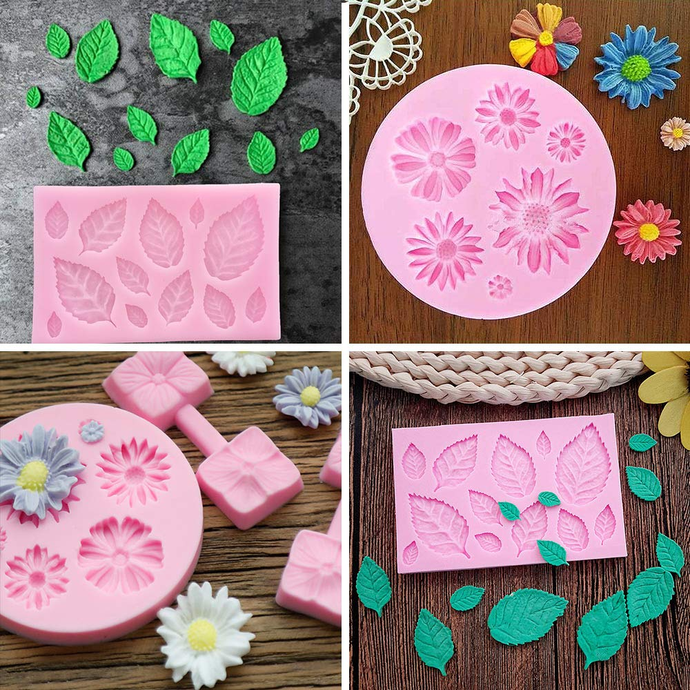 Soap Wax Making Craft Set Sugercraft Cake Decoration Kit Daisy and Leaves Collection Silicone Fondant Mold for Chocolate Polymer Clay BAKHUK 2pcs Flower Fondant Candy Mold