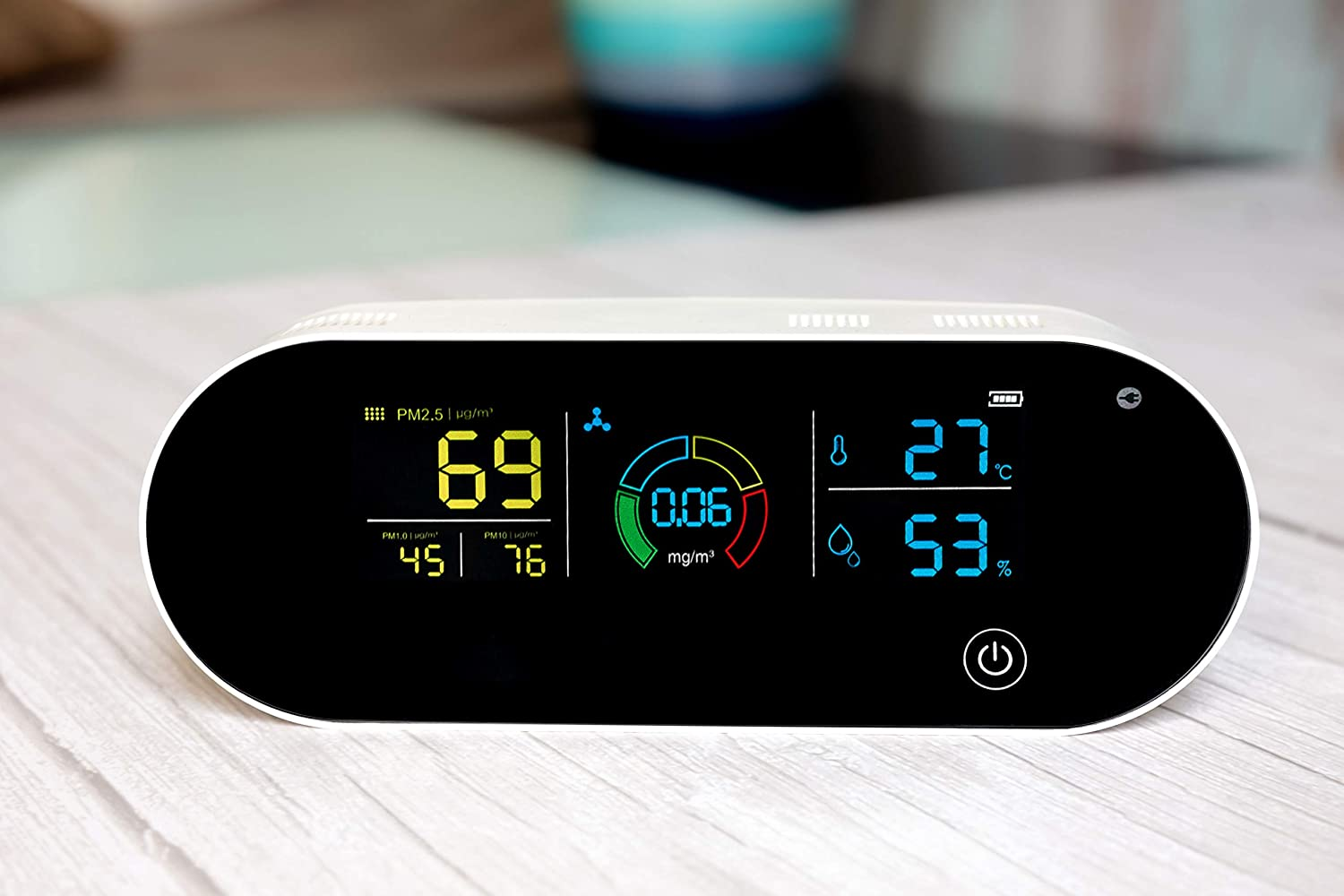 Elegant 7 in 1 Air Quality Monitor Portable Indoor Meter AQI, HCHO PM2.5 PM1.0 PM10 Temperature Humidity